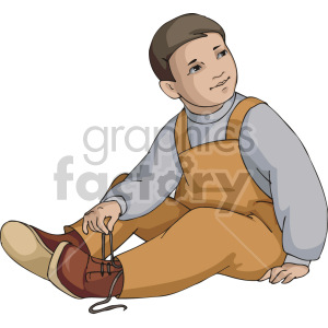 A little boy untying his shoes