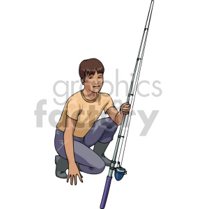 boy fishing clipart. Commercial use image # 168903