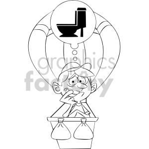 black and white cartoon man has to got to the bathroom in hot air balloon clipart. Royalty-free image # 407930