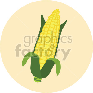 corn on the cob on yellow circle background clipart. Commercial use image # 407993