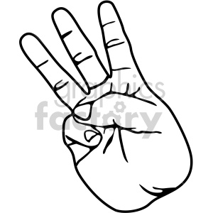hand sign number three black white clipart. Royalty-free image # 408083