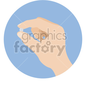 white hand holding pill blue background clipart. Royalty-free image # 408211