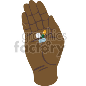 african american hand holding pills no background clipart. Commercial use image # 408213