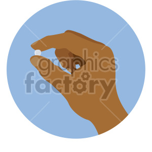 african american hand holding pill blue background clipart. Royalty-free image # 408228