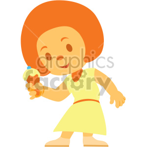 cartoon girl eating ice cream cone clipart. Commercial use image # 408392
