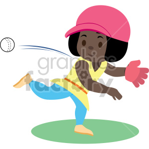 cartoon african american girl throwing ball clipart. Royalty-free image # 408394