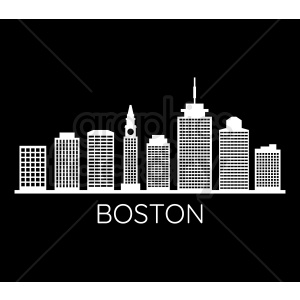 boston city skyline on black vector