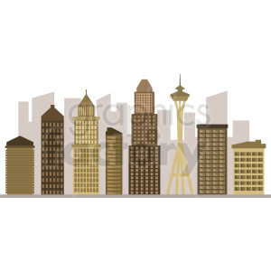 downtown seattle skyline vector design clipart. Commercial use image # 408501