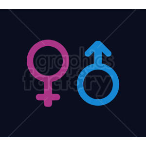 male and female icons on dark background clipart. Royalty-free image # 409005