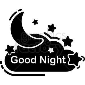 black and white good night icon vector clipart. Commercial use image # 409200
