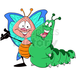 caterpillar with butterfly cartoon clipart. Commercial use image # 409284