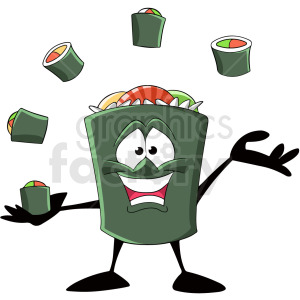 sushi juggling sushi cartoon clipart. Royalty-free image # 409292