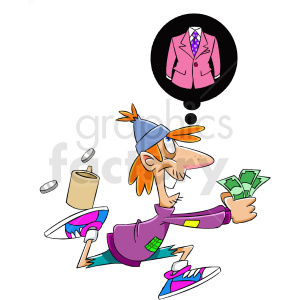 homeless man runnig to buy cloths clipart. Commercial use image # 409317