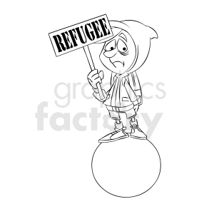 black and white cartoon refugee illustration clipart. Commercial use image # 409318