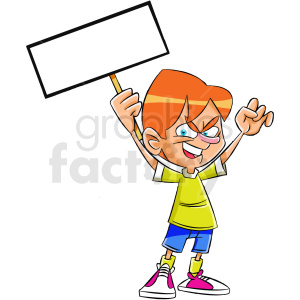 cartoon protestor with blank sign clipart. Commercial use image # 409332