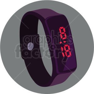 vector digital watch on circle grey background clipart. Commercial use image # 409464