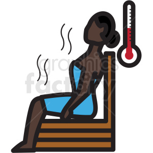 african american woman in sauna vector icon clipart