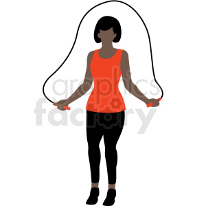 black woman jump roping vector clipart clipart. Commercial use image # 409632