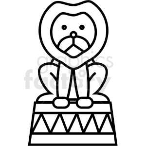 black and white circus lion icon clipart. Royalty-free image # 409933