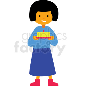 cartoon girl holding cake vector clipart