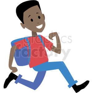 african american kid running late for school vector clipart clipart. Royalty-free image # 409986