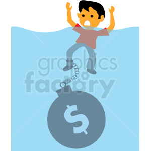 drowning from debt cartoon vector clipart clipart. Commercial use image # 409998