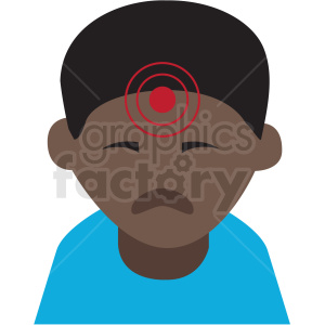 african american boy with migraine headache vector icon clipart. Royalty-free image # 410104