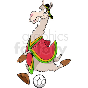 cartoon llama playing soccer clipart. Royalty-free image # 410134