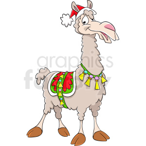 cartoon llama wearing santa hat clipart. Commercial use image # 410136