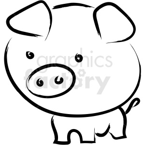 cartoon pig drawing vector icon clipart. Commercial use image # 410220