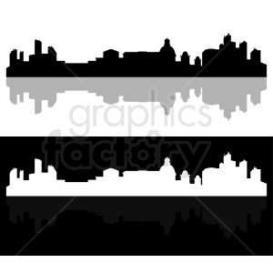 city skyline black and white vector clipart. Royalty-free image # 410431