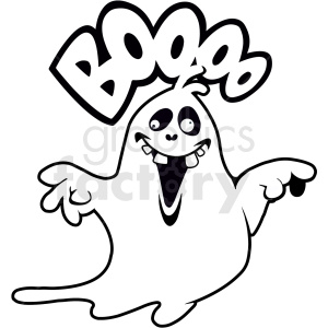 black and white ghost saying boo cartoon clipart. Commercial use image # 410558