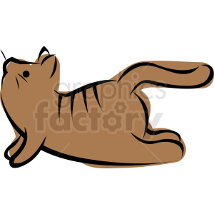 cartoon cat doing yoga upward facing dog pose vector clipart. Commercial use image # 410633