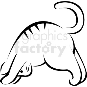 black and white cartoon cat doing yoga downward facing dog pose vector clipart. Commercial use image # 410656