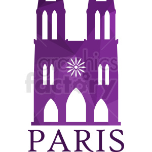 purple Notre Dame Paris vector design clipart. Royalty-free image # 410741