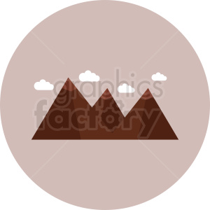 mountain with clouds vector icon on circle background