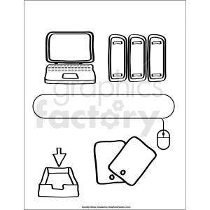 doodle notes printable page for computer class clipart. Royalty-free image # 411145