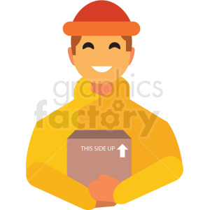 delivery man flat icon vector icon clipart. Royalty-free icon # 411289