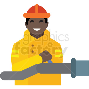 black firefighter flat icon vector icon