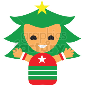 christmas tree avatar girl vector icon clipart. Commercial use image # 411355