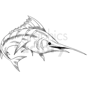 black white realistic swordfish vector clipart clipart. Commercial use image # 411422