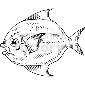 black white realistic fish clipart. Royalty-free image # 411435