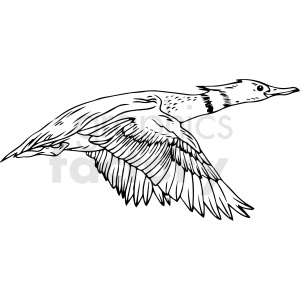 black and white duck vector clipart clipart. Commercial use image # 411467
