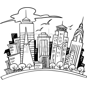 cartoon city black white vector clipart clipart. Commercial use image # 411503