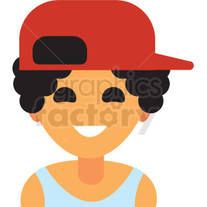kid wearing baseball hat avatar icon vector clipart clipart. Commercial use image # 411520