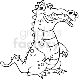 cartoon alligator black white vector clipart clipart. Royalty-free image # 411643