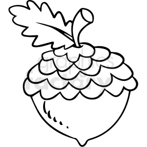 cartoon acorn black white vector clipart clipart. Royalty-free image # 411654