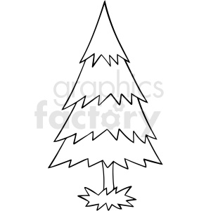 cartoon pine tree black white vector clipart
