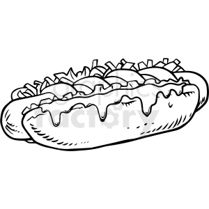 black and white hot dog vector clipart clipart. Commercial use image # 411736