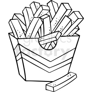 black and white french fries vector clipart clipart. Royalty-free image # 411741